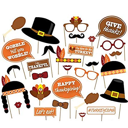 Thanksgiving photo booth clipart clip freeuse download Palksky ( 29 count)Give Thanks,Thanksgiving Day Photo Booth Props,Happy  Thanksgiving Photo Booth Props Decorations clip freeuse download