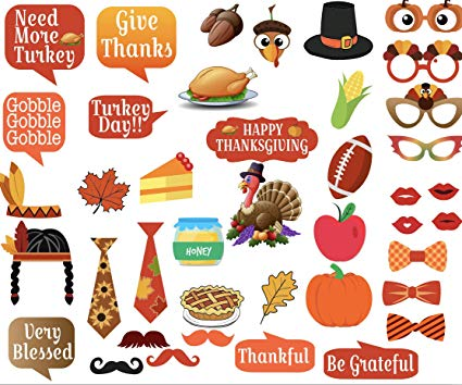 Thanksgiving photo booth clipart banner royalty free Amazon.com: Thanksgiving Photo Booth Props Kit – Pack of 41 ... banner royalty free