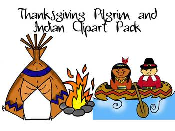 Thanksgiving pilgrim and indian clipart jpg free library Thanksgiving Pilgrim and Indian Clipart Pack by Learning 4 Keeps Design! jpg free library