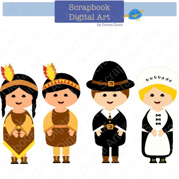 Thanksgiving pilgrim and indian clipart clip black and white Pilgrims and Indians Digital Clip Art, Thanksgiving Clip Art ... clip black and white
