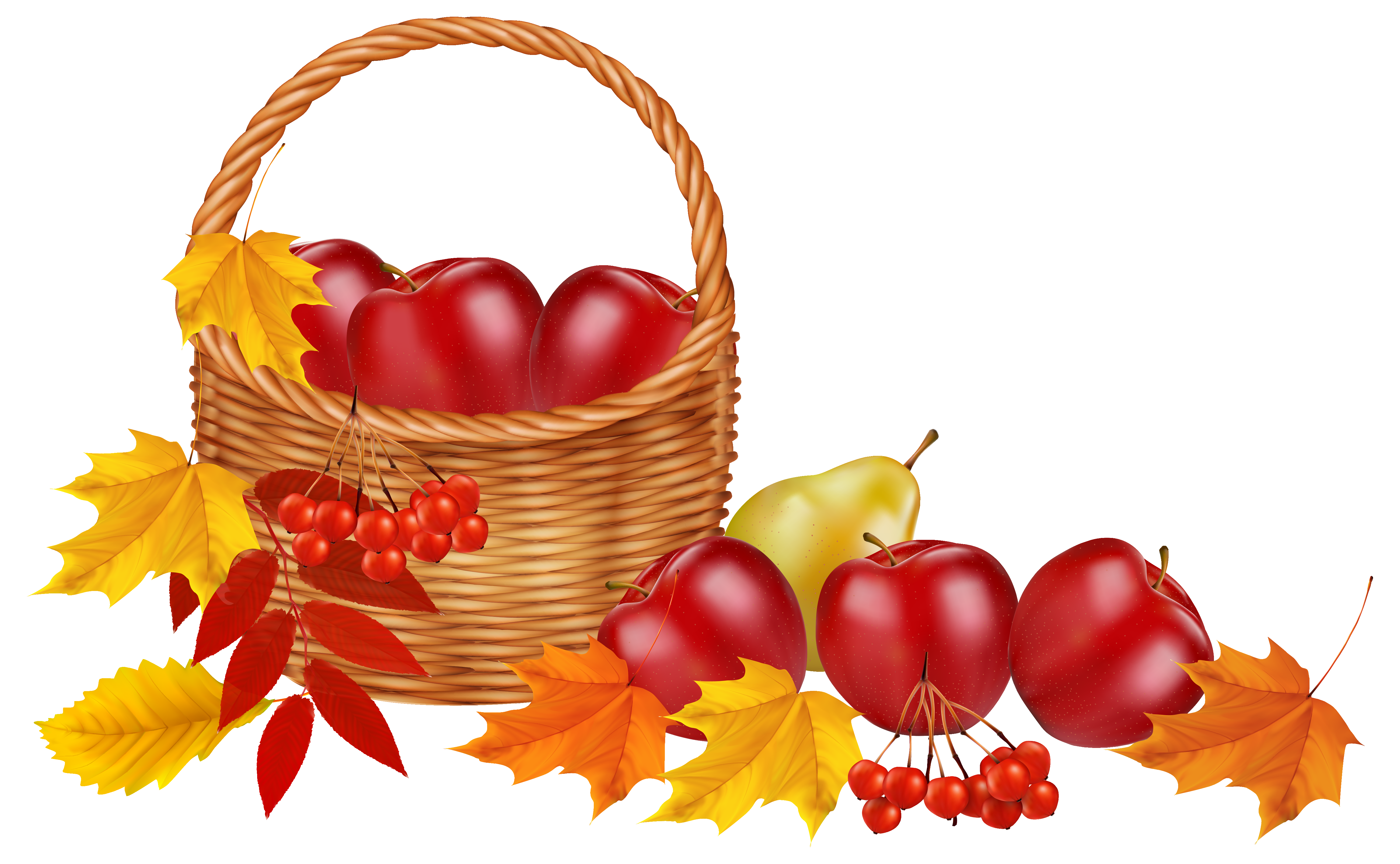 Thanksgiving raffle basket clipart clip royalty free library Basket With Fruits And Autumn Leaves Png Image Transparent Free ... clip royalty free library
