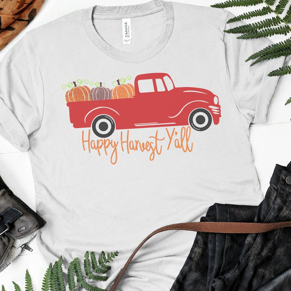 Thanksgiving shirts with old truck clipart clip library library Happy Harvest Red Truck svg, Thanksgiving Red Truck svg, Red Truck svg,  Pumpkin svg, Cricut Designs, Silhouette Designs clip library library