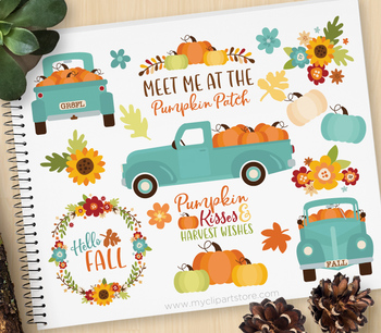 Thanksgiving shirts with old truck clipart png black and white library Clipart - Pumpkin Truck (Teal) Fall, Autumn, Thanksgiving, Farmhouse png black and white library