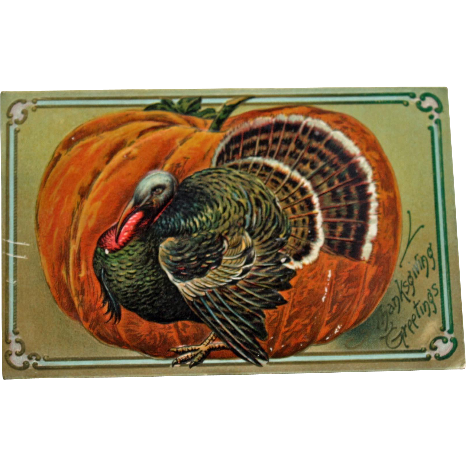 Thanksgiving travelling clipart picture freeuse library Antique Thanksgiving Postcard with Turkey and Large Pumpkin | rug ... picture freeuse library