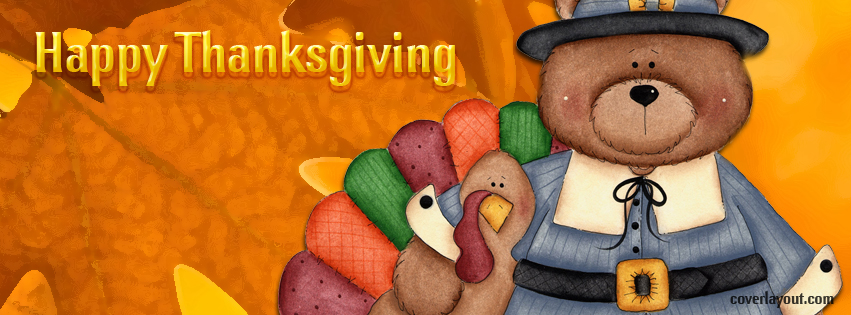 Thanksgiving turkey clipart cover photo for facebook vector Happy Thanksgiving Turkey Bear Pilgrim Facebook Cover, Happy ... vector