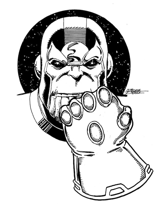 Thanos clipart black and white vector THANOS (2012) art by George Pérez from heroinitiative ... vector