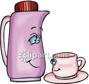 Tharmas clipart jpg stock A Cartoon Thermos Parent Smiling Down To a Child Teacup ... jpg stock