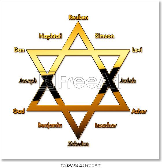 The 12 tribes of isreal clipart black and white banner Free art print of 12 tribes of Israel banner