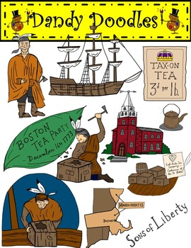 The boston tea party clipart graphic royalty free Boston Tea Party Clip Art by Dandy Doodles in 2019 ... graphic royalty free