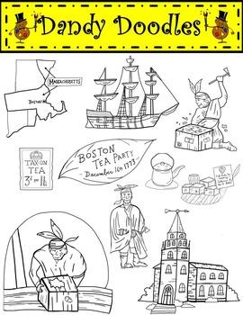 The boston tea party clipart jpg freeuse Boston Tea Party Clip Art by Dandy Doodles jpg freeuse