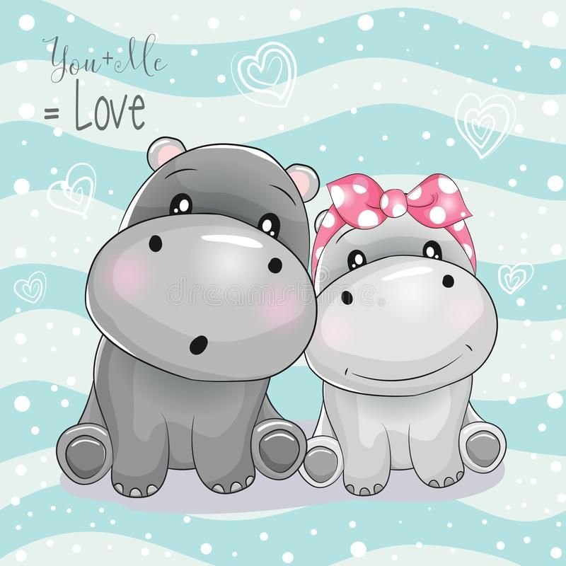 The boy is more silly than the girl clipart clip stock Two cute hippo cartoon on striped background. Illustration ... clip stock