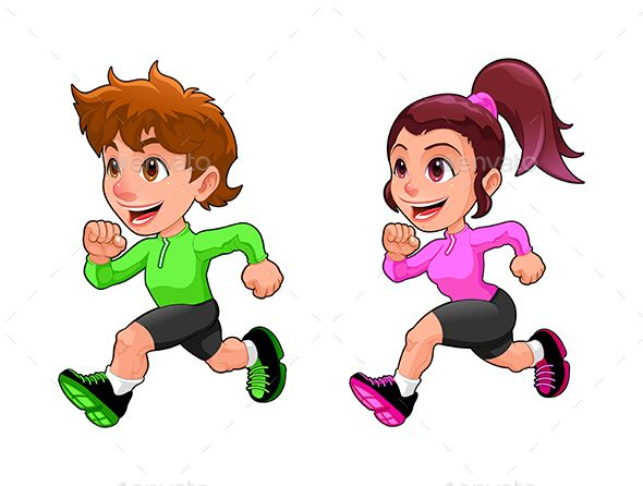 The boy is more silly than the girl clipart graphic free stock Funny Running Boy and Girl | Sport Vector Adobe Illustrator ... graphic free stock