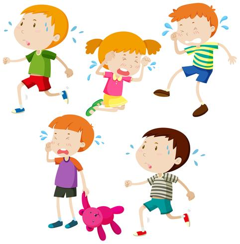 The boy is smaller than the girls clipart banner stock Sad boys and girl crying - Download Free Vectors, Clipart ... banner stock
