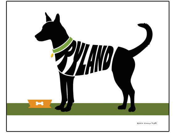 The carolina dog clipart picture black and white stock Personalized Carolina Dog Print Custom American by ElainesPrints picture black and white stock