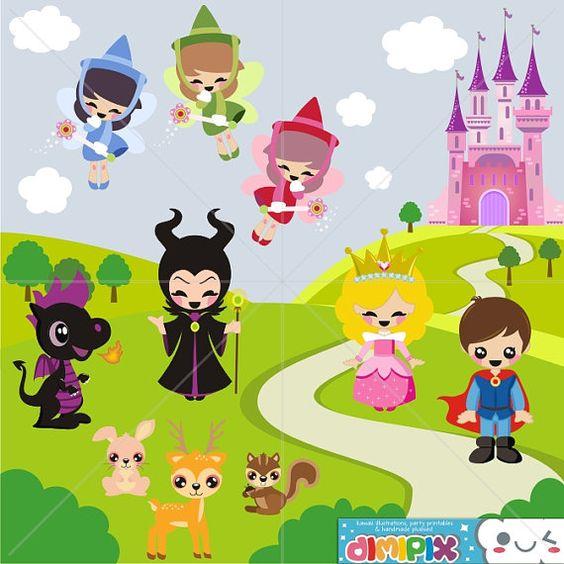 The clipart fairy printables clip art royalty free Sleeping Beauty, Cute Princess, Fairy Tale / Clip art set / Kit ... clip art royalty free
