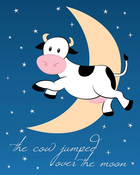The cow jumped over the moon clipart clipart free library The Cow Jumped Over the Moon Printable 8x10 by HotDogP ... clipart free library