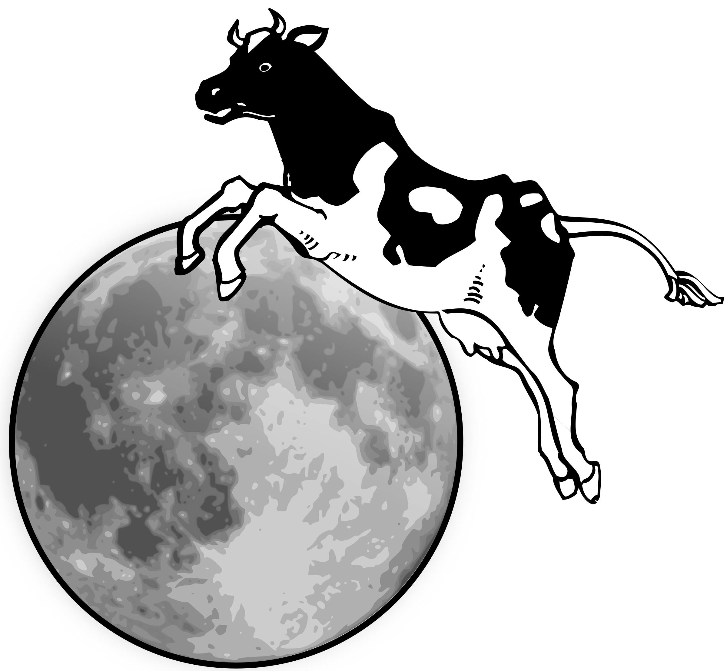 The cow jumped over the moon clipart graphic freeuse download Cow jumping over the moon vector clipart image - Free stock ... graphic freeuse download