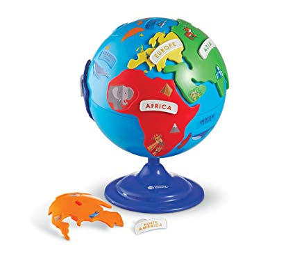 The earth clipart with labeled continets clipart transparent library Learning Resources Puzzle Globe, 3-D Geography Puzzle, Fine Motor, 14  Pieces, Ages 3+ clipart transparent library