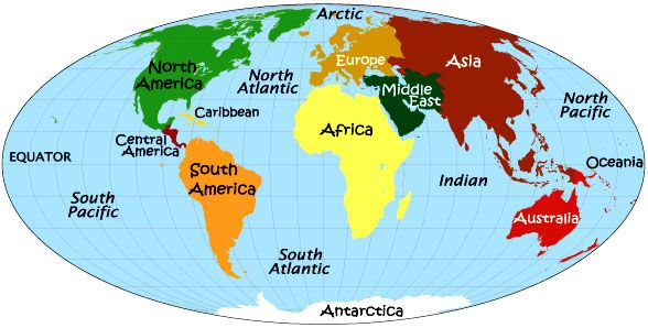 The earth clipart with labeled continets image free The 7 Continents: Asia, Africa, North America, South America ... image free