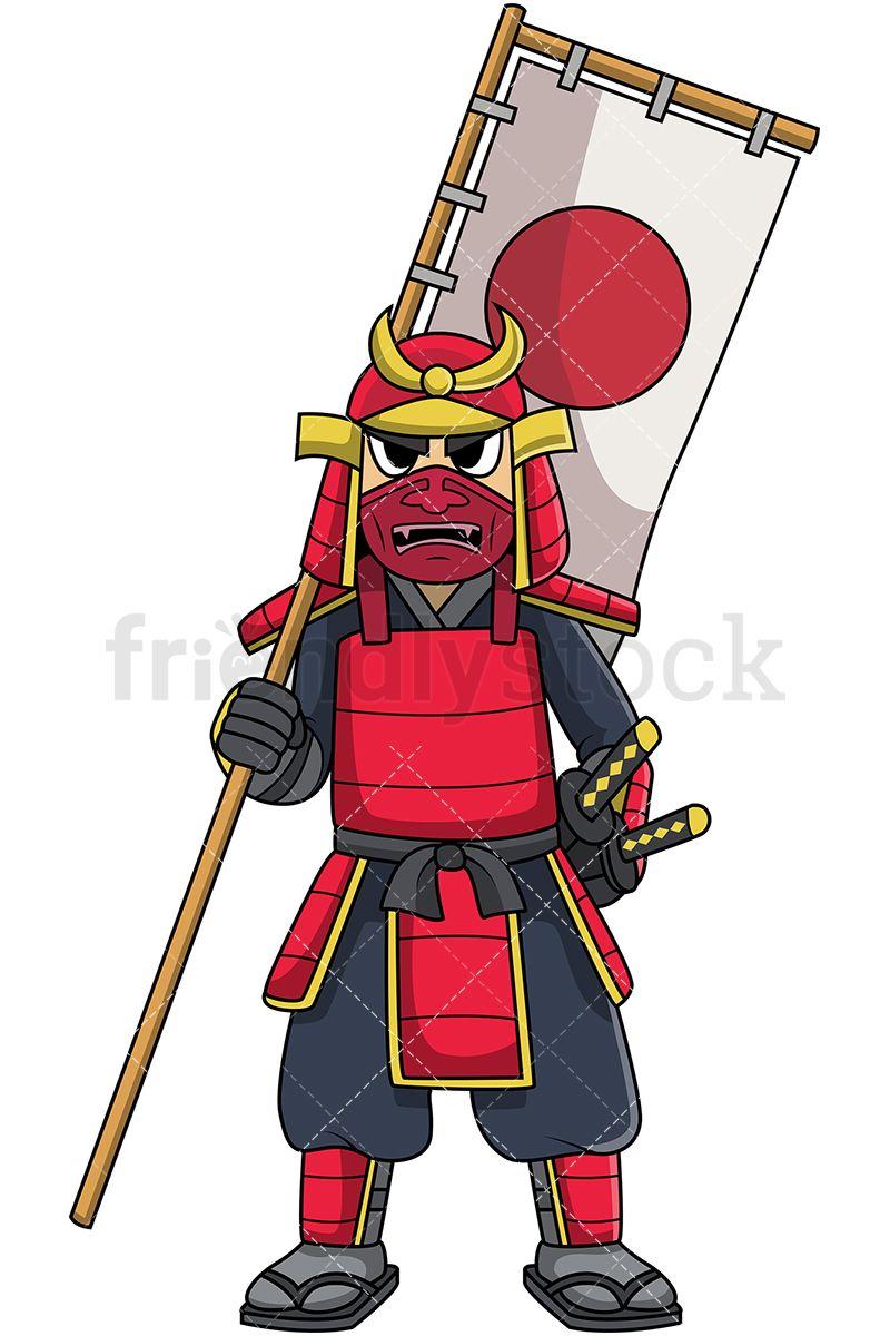 The end japanese clipart bow transparent stock Japanese Samurai Warrior In Battle Armor Holding Banner Flag ... transparent stock