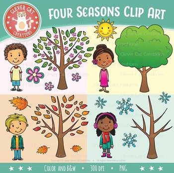 The four seasons clipart image black and white download Four Seasons Clip Art image black and white download