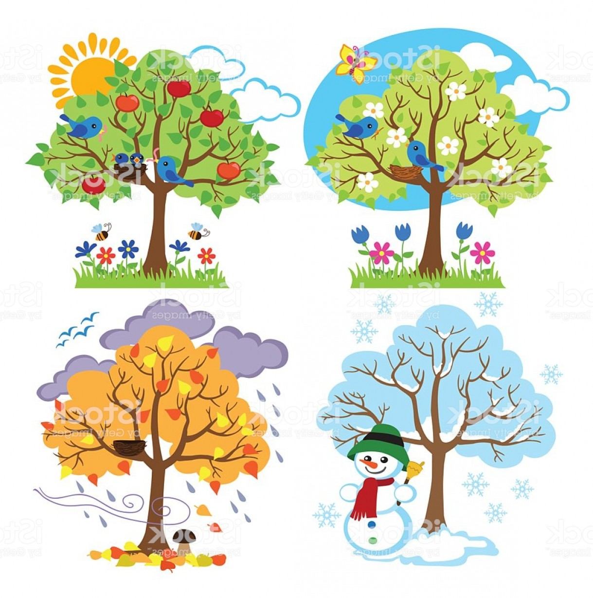 The four seasons clipart vector free Four Seasons Trees Clipart With Spring Summer Fall And ... vector free