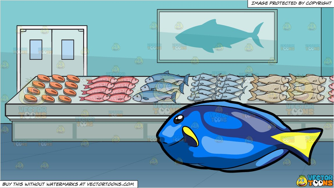 The galley fish bone clipart image royalty free stock A Striking Royal Blue Tang Fish and The Fish Section Of A Supermarket  Background image royalty free stock
