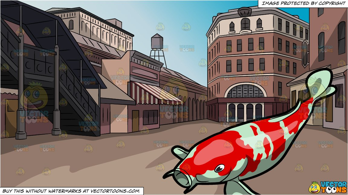 The galley fish bone clipart clip royalty free A Majestic Koi Fish and Old Town Square Background clip royalty free