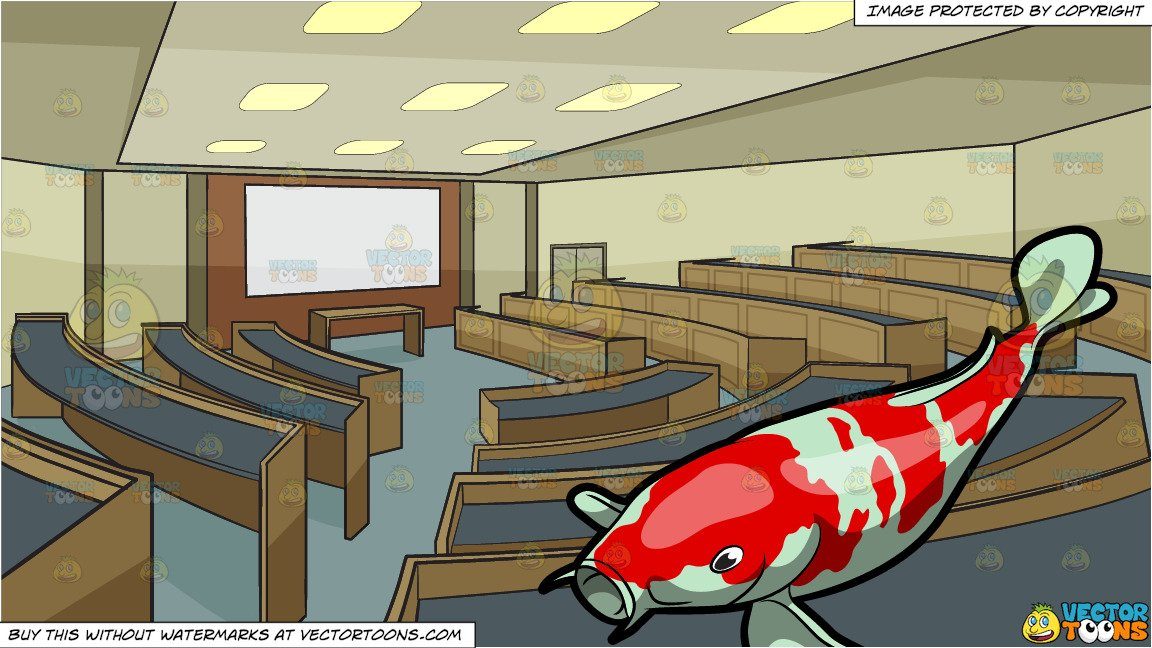 The galley fish bone clipart royalty free stock A Majestic Koi Fish and University Lecture Room Background royalty free stock