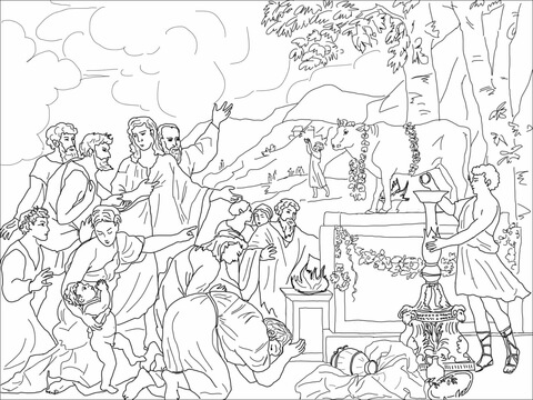 The golden calf clipart black and white graphic black and white Adoration of Golden Calf coloring page | Free Printable ... graphic black and white