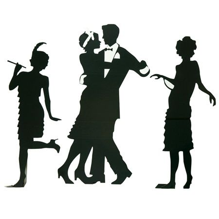 The great gatsby clipart png black and white Guys and Dolls Silhouettes Kit-Roaring 20\'s Great Gatsby ... png black and white