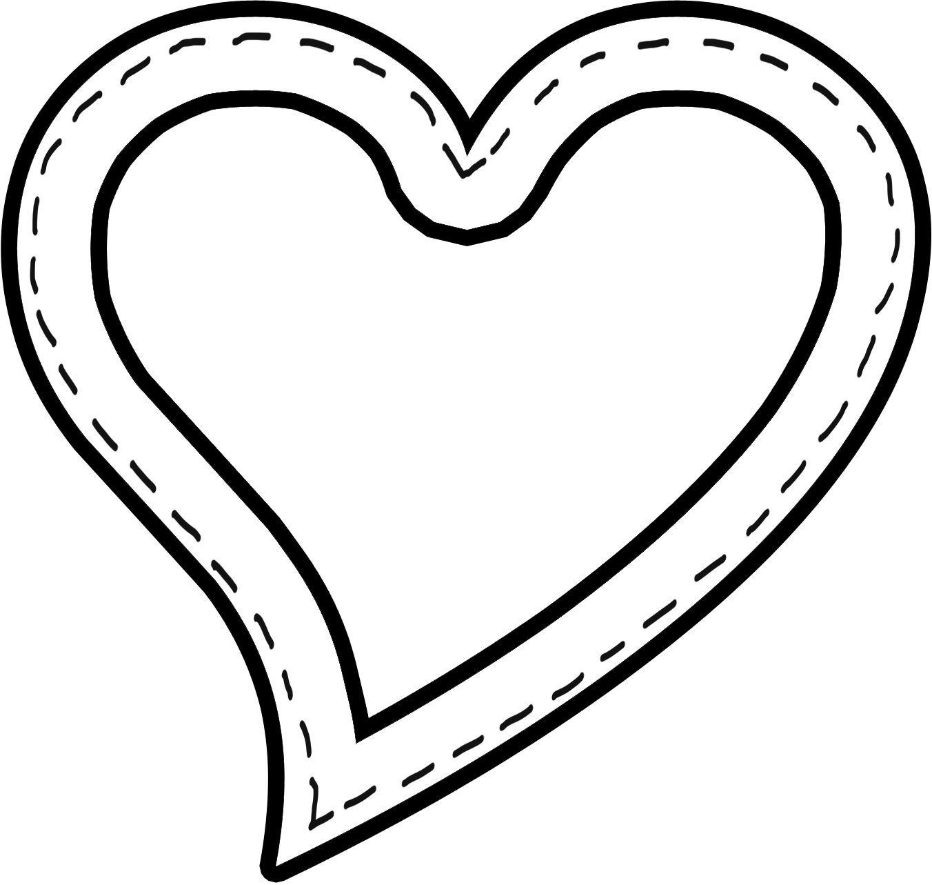 The heart clipart image black and white stock Cute traceable heart clipart image black and white stock
