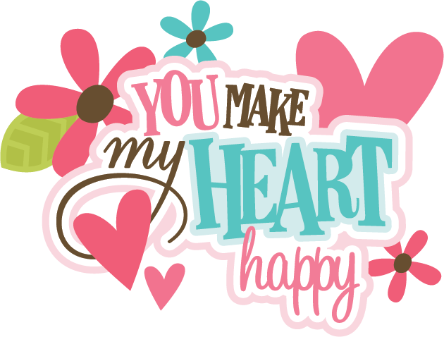 The heart title clipart clip art black and white download You Make My Heart Happy SVG scrapbook title valentines svg ... clip art black and white download