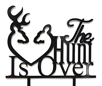The hunt is over clipart royalty free library Qttier The Hunt Is Over With Deer Silhouette Cake Topper -Wedding,  Engagement Party Decorations(Black) royalty free library