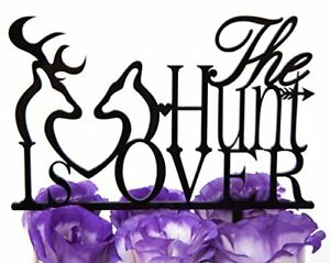 The hunt is over clipart banner black and white stock Details about LOVENJOY Gift Box Pack Deer The Hunt is Over Acrylic Wedding  Cake Toppers banner black and white stock