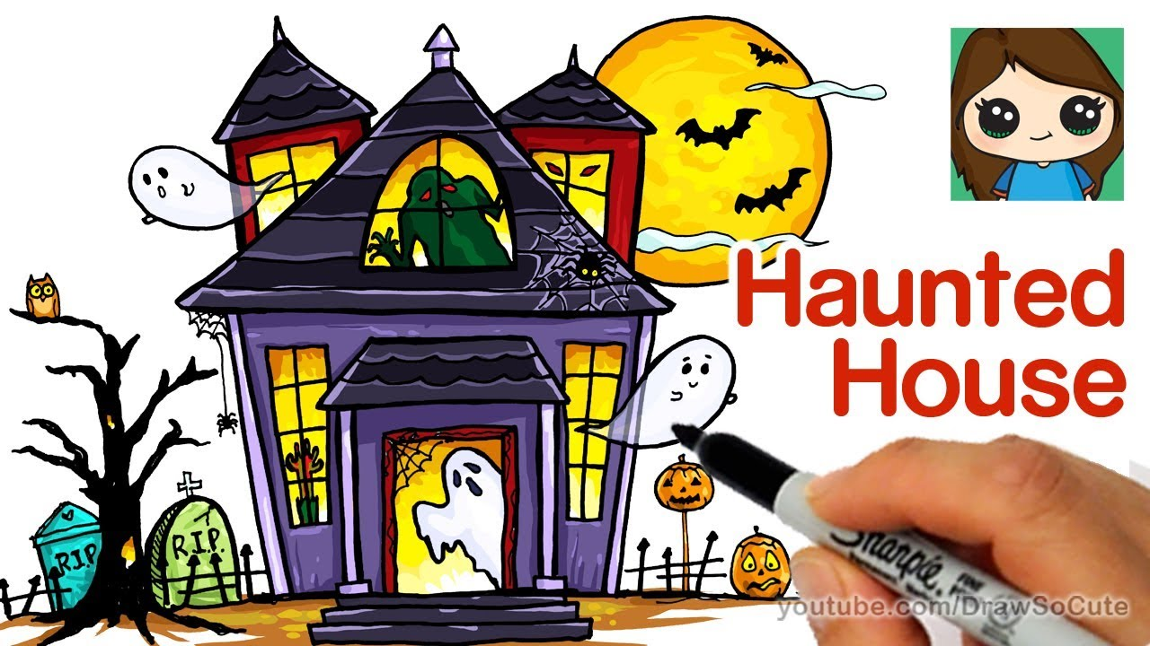 The inside of a spooky house clipart image black and white download How to Draw a Haunted House Easy image black and white download