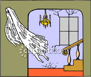 The inside of a spooky house clipart clip freeuse A Ghost Flying Inside a House Royalty Free Clipart Picture clip freeuse