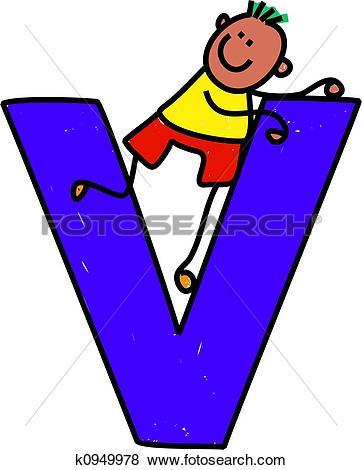 The letter v clipart black and white stock Stock Illustration of letter V boy k0878659 - Search Vector ... black and white stock