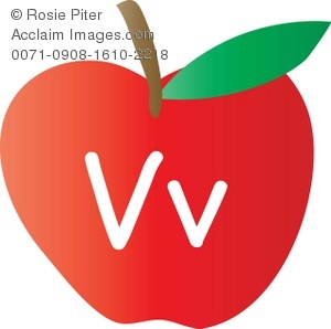 The letter v clipart image transparent Apple With The Letter V Written On It Royalty-Free Clip Art Image image transparent