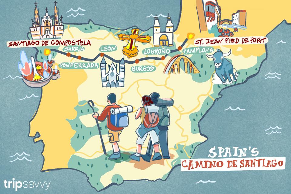 The long way route clipart clip royalty free stock Spain\'s Camino de Santiago: How Long the Trip Takes clip royalty free stock