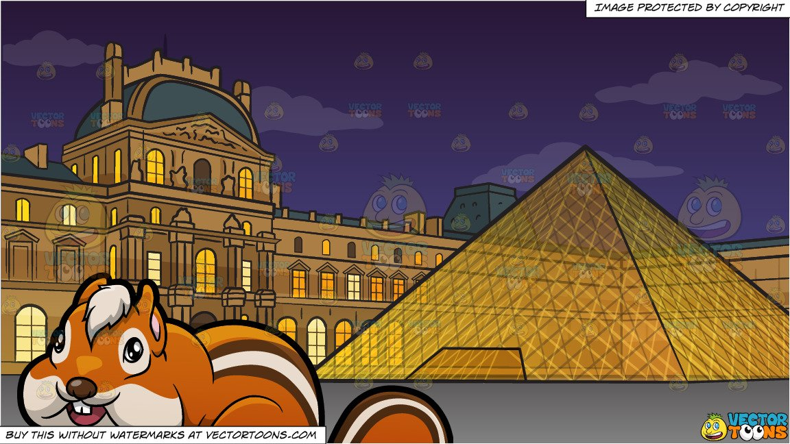The louvre clipart clipart transparent stock A Cute Chipmunk and The Louvre Background clipart transparent stock