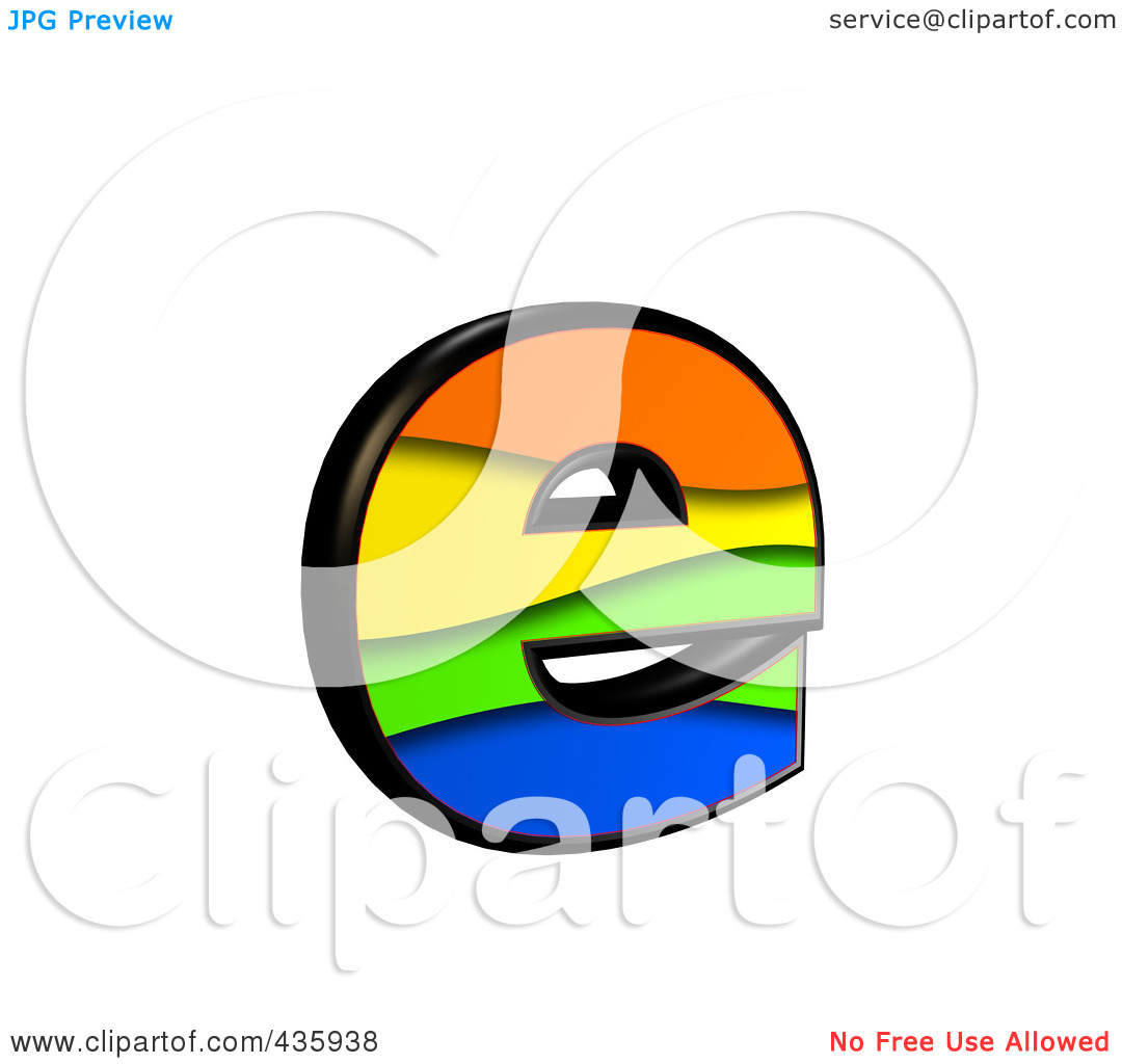 The lower case letter e clipart banner black and white download Royalty-Free (RF) Clipart Illustration of a 3d Rainbow Symbol ... banner black and white download