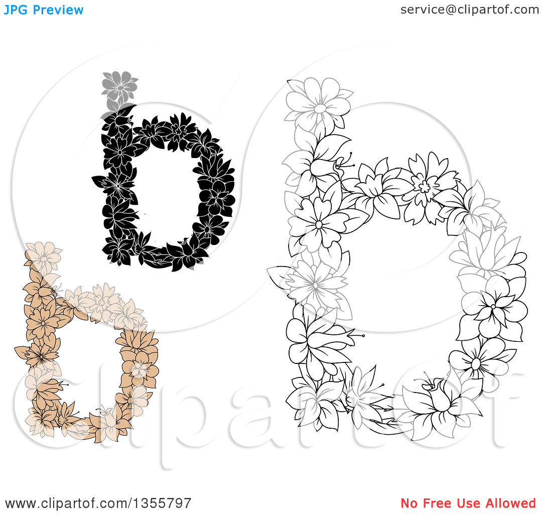 The lowercase letter b clipart vector transparent stock Clipart of Black and White and Tan Floral Lowercase Letter B ... vector transparent stock