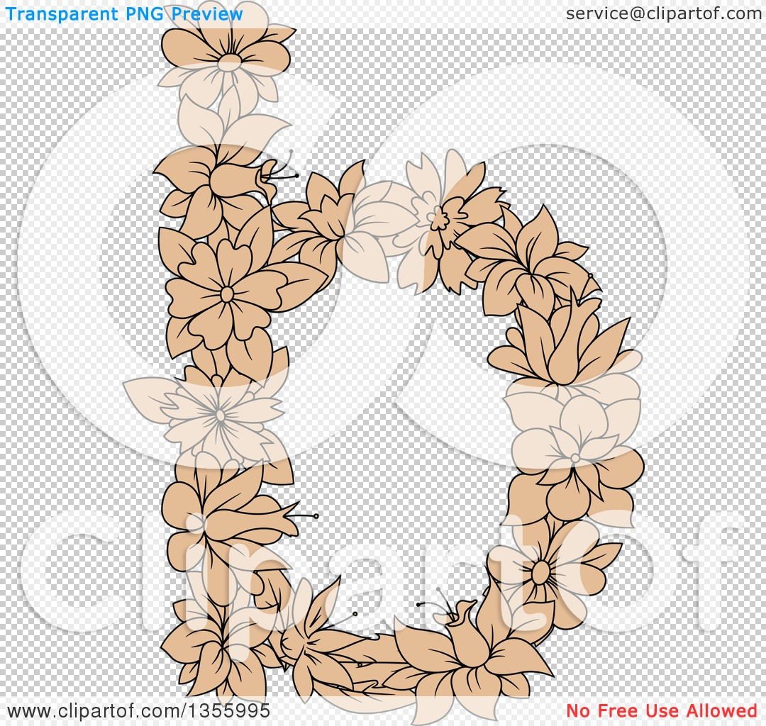 The lowercase letter b clipart clip art freeuse stock Clipart of a Tan Floral Lowercase Letter B - Royalty Free Vector ... clip art freeuse stock