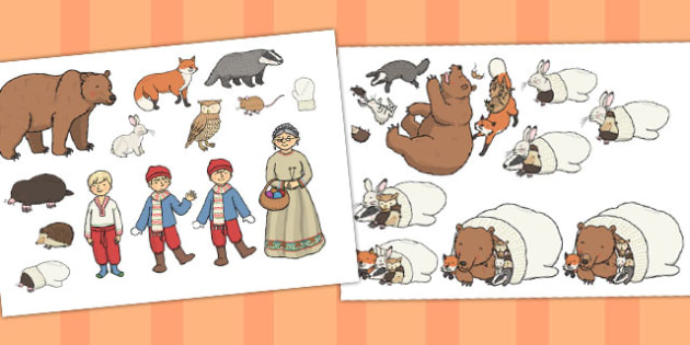 The mitten story clipart graphic download The Mitten Story Cut Outs - the mitten story, story, cut outs graphic download