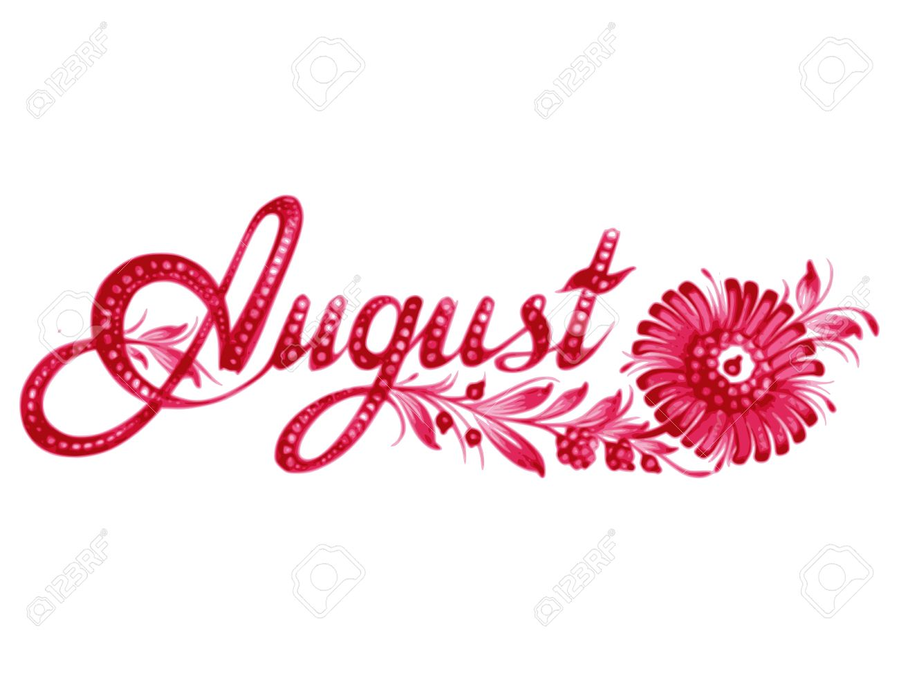 The month of august clipart image free August, Name Of The Month, Hand Drawn, Illustration In Ukrainian ... image free