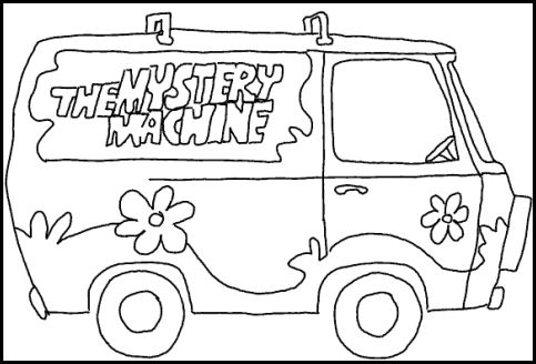 The mystery machine clipart black and white