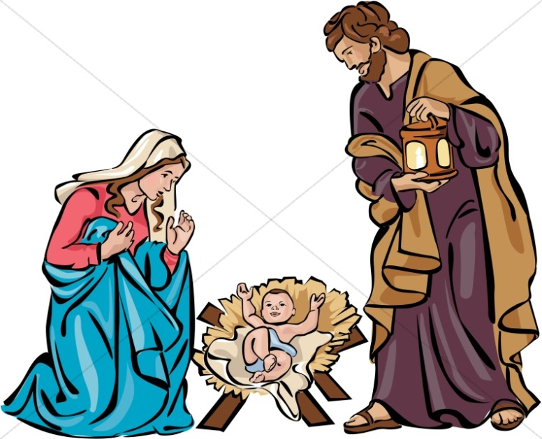 Nativity pictures clipart png library library Holy Family Nativity in Color | Nativity Clipart png library library