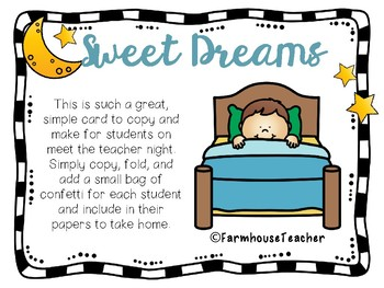The night before school clipart banner library download Sweet Dreams Confetti Card- Back to School or Meet the Teacher Night banner library download