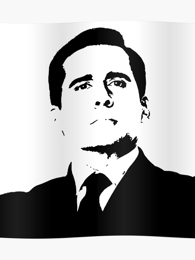 The office show clipart black and white image black and white PROUD MICHAEL SCOTT The Office TV Show NBC black white | Poster image black and white